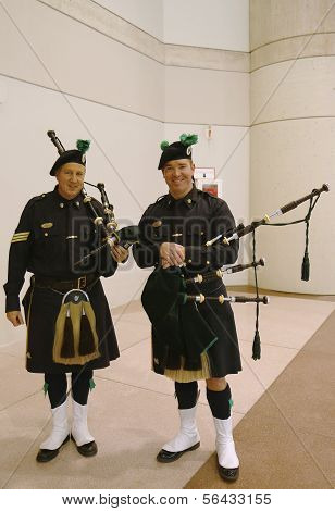 Bagpipers from NYPD Emerald Society in New York