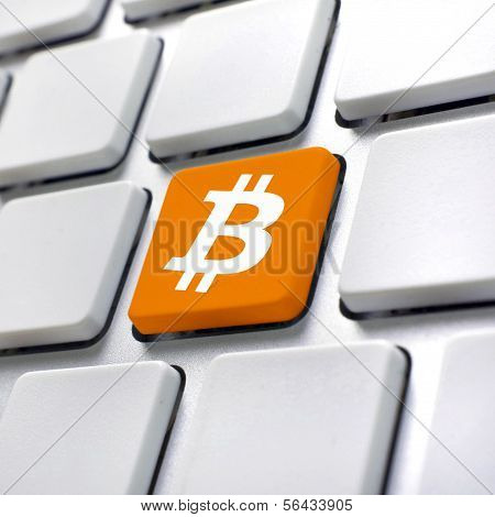 Bitcoin Symbol On Computer Keyboard