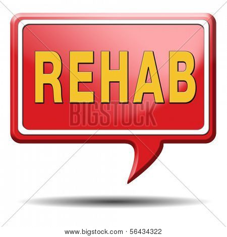 rehabilitation rehab for drugs alcohol or sport and accident injury physical or mental therapy