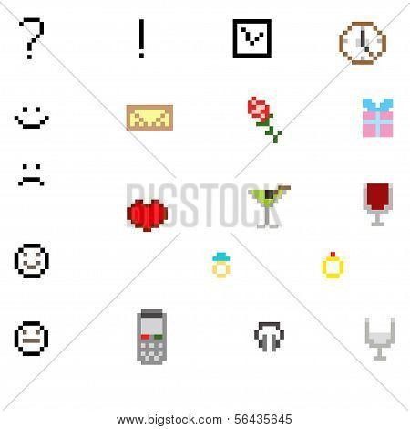 Set of pixel icon vector