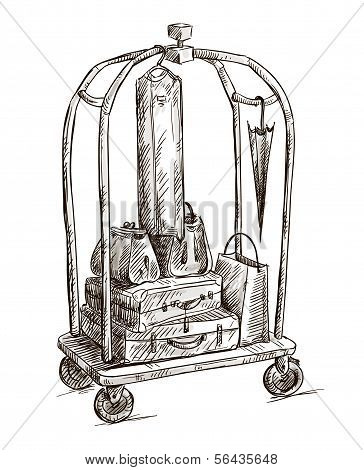 hotel cart with luggage