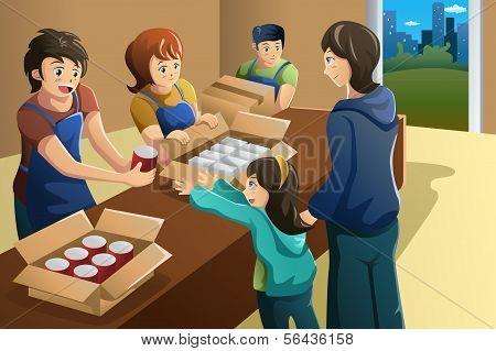 Equipo de trabajo voluntario en el centro de donación de alimentos