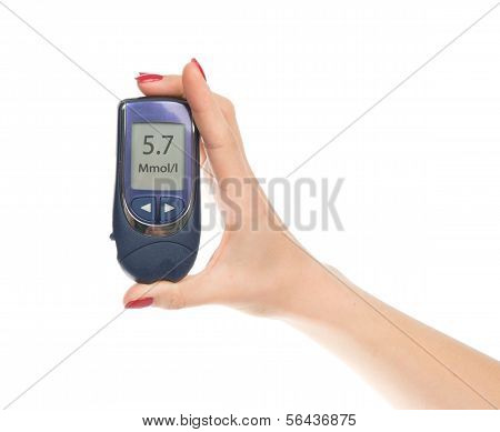 Diabetes Composition Glucometer In Hand
