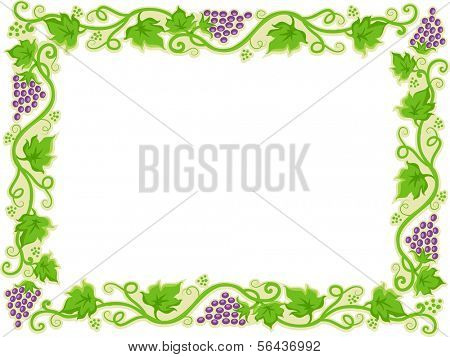 Illustration of a Frame with Grapevines for Borders