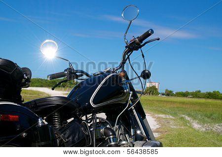 Vintage Motorcycle On Dirt Road