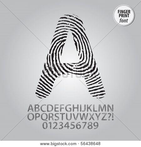 Silhouette Fingerprint Alphabet And Digit Vector