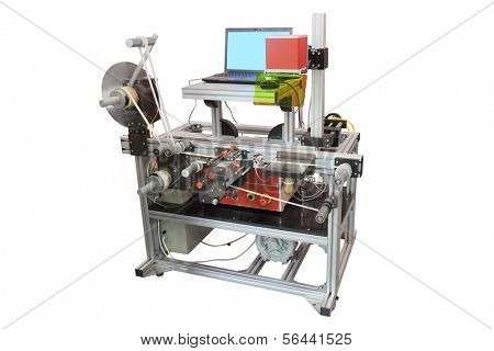 The image of a professional label printing machine