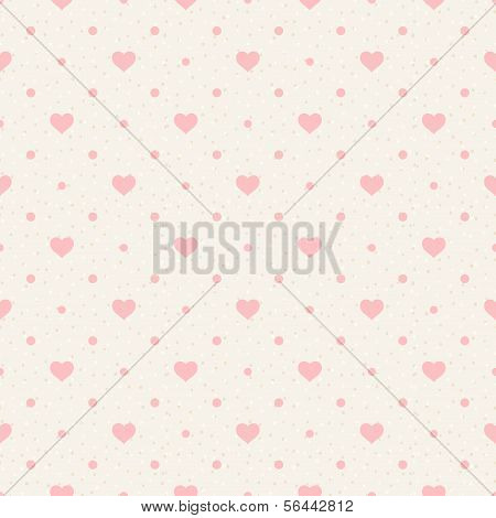 Retro Seamless Pattern. Pink Hearts And Dots On Beige Background