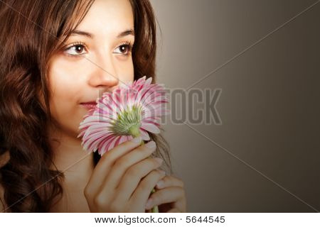 Beautiful Woman With Pink Gerber