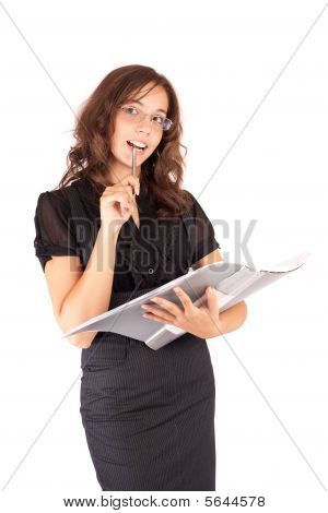 Beautiful Businesswoman On White