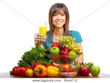 Woman, Juice, Vegetables And Fruits