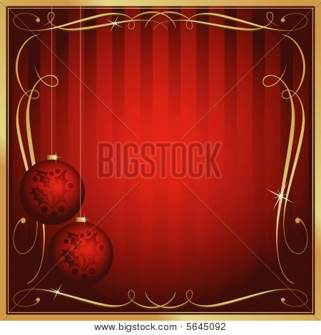 Ornate Red Christmas Card or Tag with Copy Room