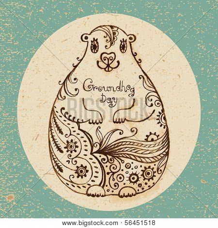 Groundhog Day. Vintage hand drawn card.