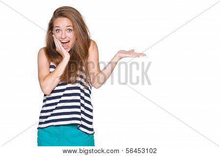 Überrascht Frau Ergebnis geöffnete Hand palm
