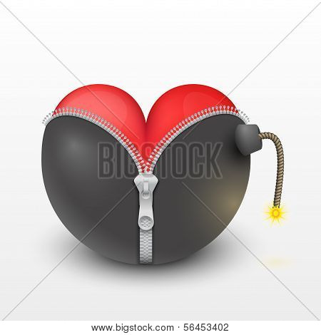 Corazón rojo dentro de las bombas negros