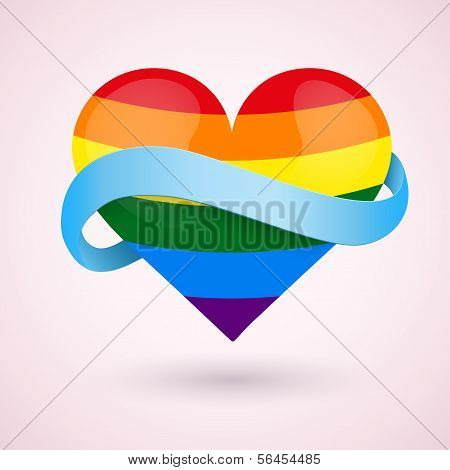 LGBT Background rainbow heart and ribbon.