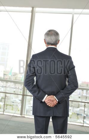 Middle Aged Businessman Seen From Behind Looking Out Window