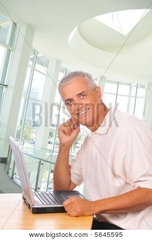 Middle Aged Businessman Seated At Computer