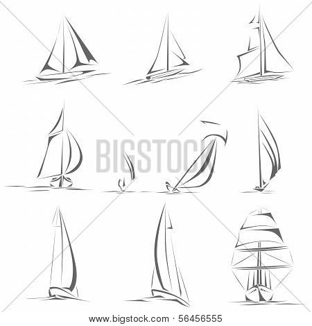 Set Of Different Sailing Ships Icon(simple Vector).