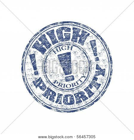 High priority grunge rubber stamp