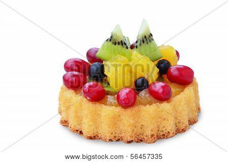 Fruit Tart Sponge Cake On White