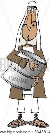 Arab man holding a barrel of crude