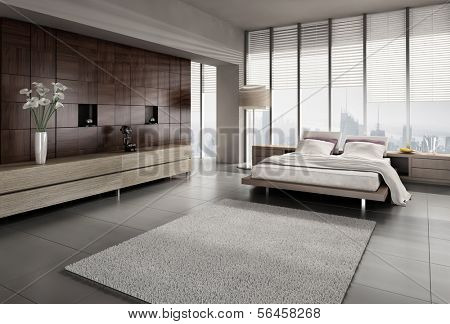 A 3D rendering of modern bedroom with floor to ceiling windows