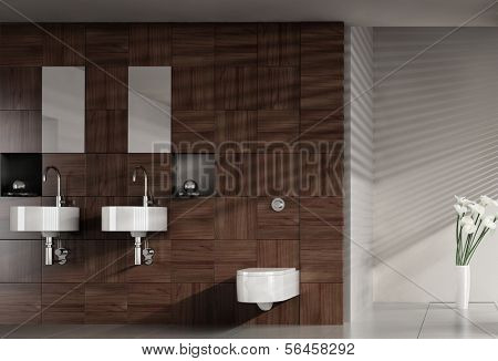 A 3D rendering of modern bathroom with double basin