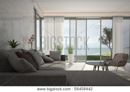 A 3D rendering of modern living room with floor to ceiling windows