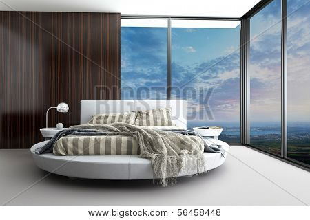 Exclusive Modern Design Bedroom with aerial view