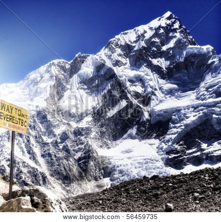 Signpost / sign of Mount Everest Base Camp