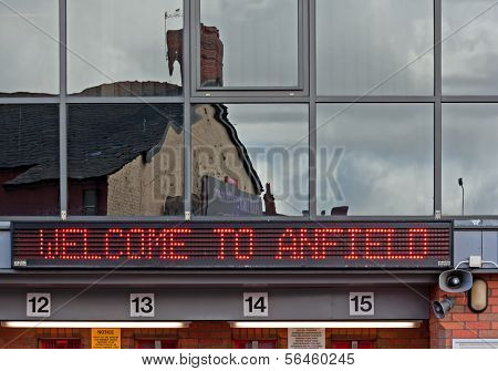 Liverpool, Uk, April 21St 2012. Welcome To Anfield Sign On Liverpool Football Club Ticket Office