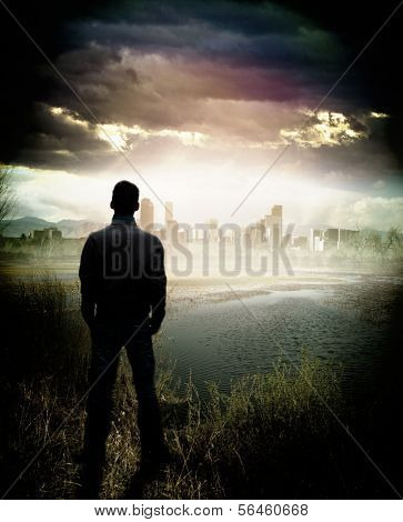 Rear view of man watching lake and cityscape on the shore