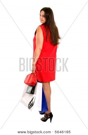 Shopping Woman In Red Dress Turn Back