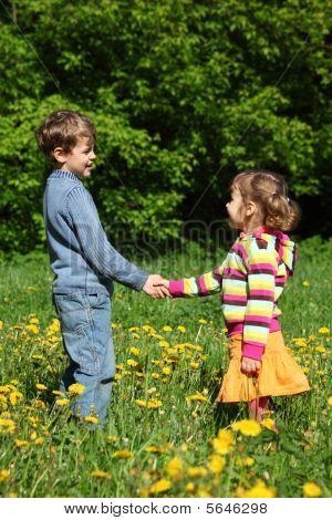 Boy And  Girl Handshaking Among Blossoming Dandelions
