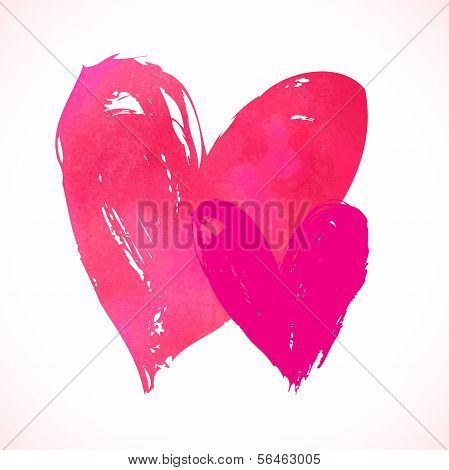Vector grunge card with hand painted hearts