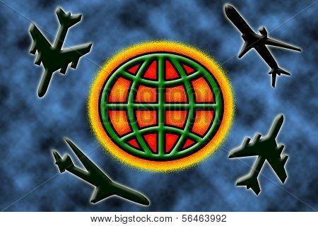 airplanes circling