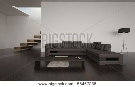 A 3D rendering of modern living room with brown sofa set
