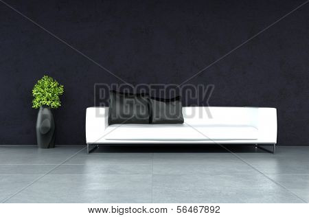 A 3D rendering of modern leather sofa