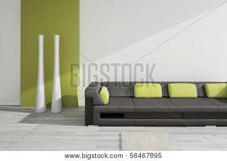 A 3D rendering of black leather sofa with green pillows