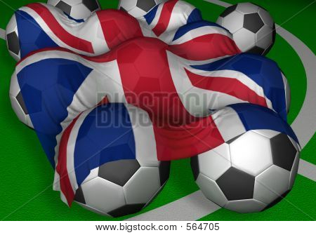 3d-rendering United Kingdom Flag And Soccer-balls
