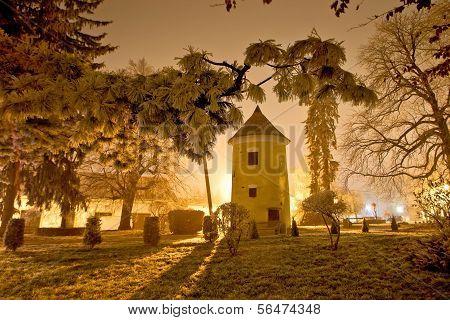 Vrbovec Winter Night Scene In Park