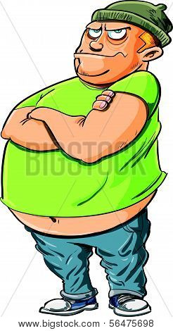 Cartoon bully with a fat belly. Isolated on white
