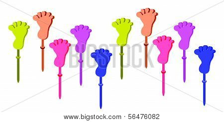 Set Of Plastic Foot Clap Toys On White Background