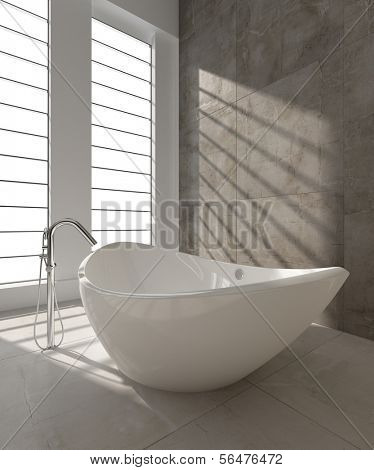 A 3D rendering of modern bathtub