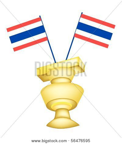 The Constitution On A Pedestal With Thai Flag