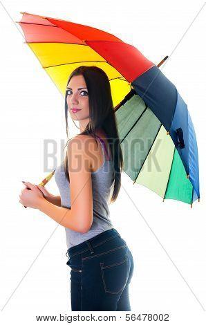 Woman With Rainbow Umbrella2