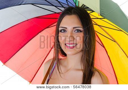 Woman With Rainbow Umbrella