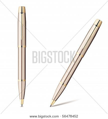 Ballpoint Pen isolated on white. Vector Illustration