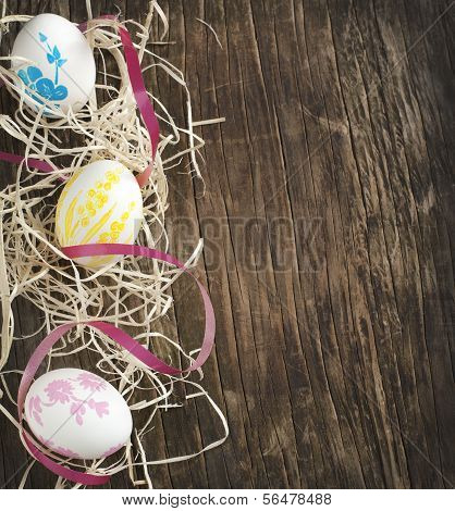 Easter Background With Easter Eggs